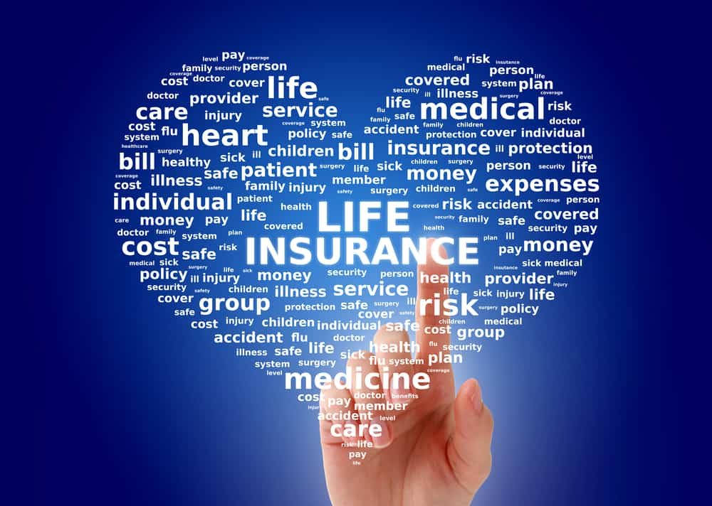 Life insurance concept. Cloud tags over blue background.